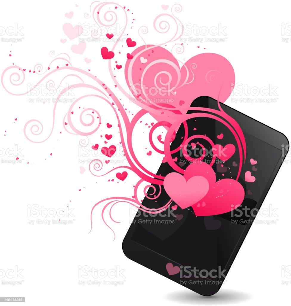 Smartphone hearts royalty-free stock vector art