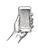 Smartphone hold male hand. Vintage drawn vector engraving illustration for