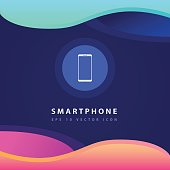 Smartphone icon design on modern flat background
