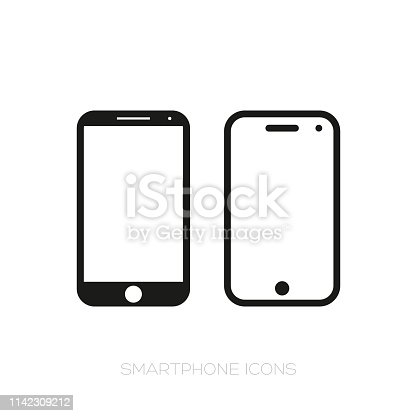Smartphone icon set vector black