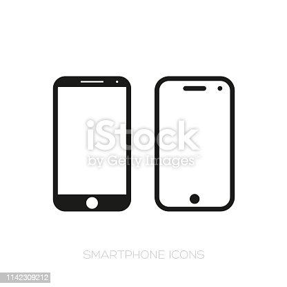 Smartphone icon set vector black