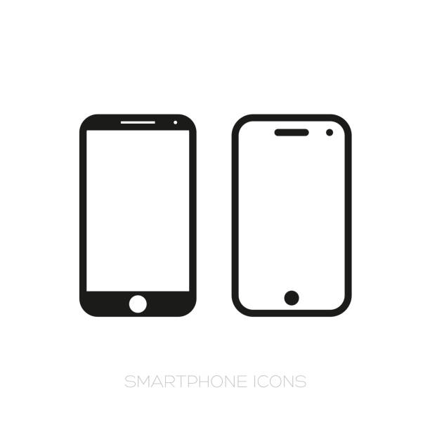 Smartphone icon set Smartphone icon set vector black iphone stock illustrations