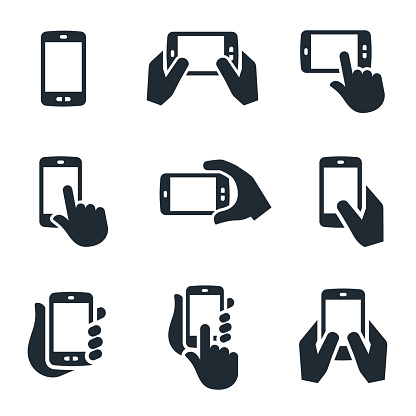 A set of smartphone or mobile phone icons in use. The icons show several different views of hands holding the devices and interacting with them.