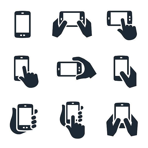 smartphone ikony - ręka człowieka stock illustrations