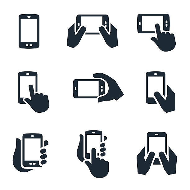 smartphone icons - hand holding phone stock illustrations