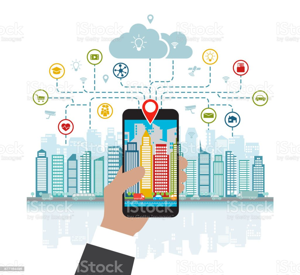 Smartphone in hand helps to focus in a smart city with advanced smart services, and augmented reality, social networking, location in the city vector art illustration
