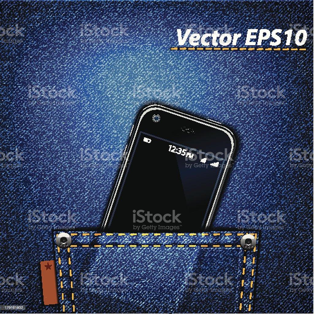 Smartphone in jeans pocket vector art illustration
