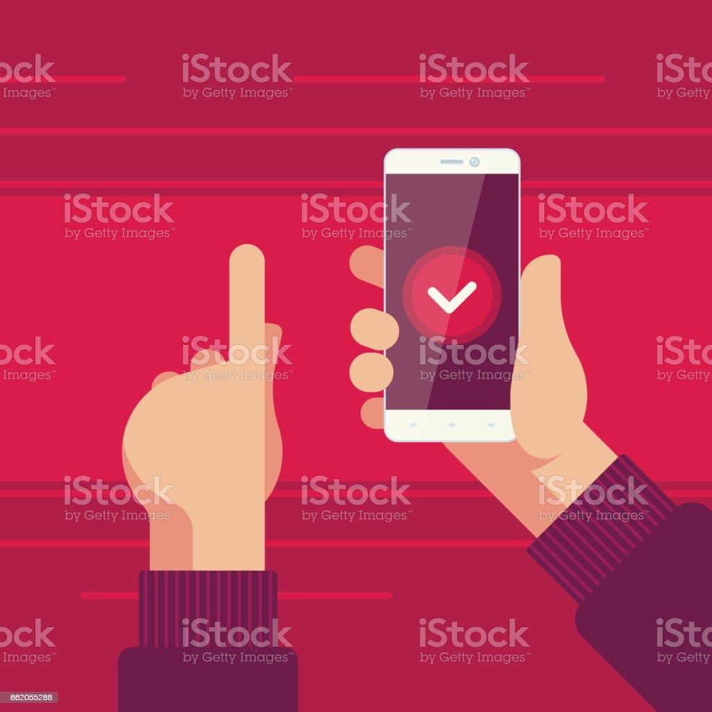 Smartphone i höger hand och vänster hand pekar på bekräftelseknappen på skärmen - Royaltyfri Använda telefon vektorgrafik
