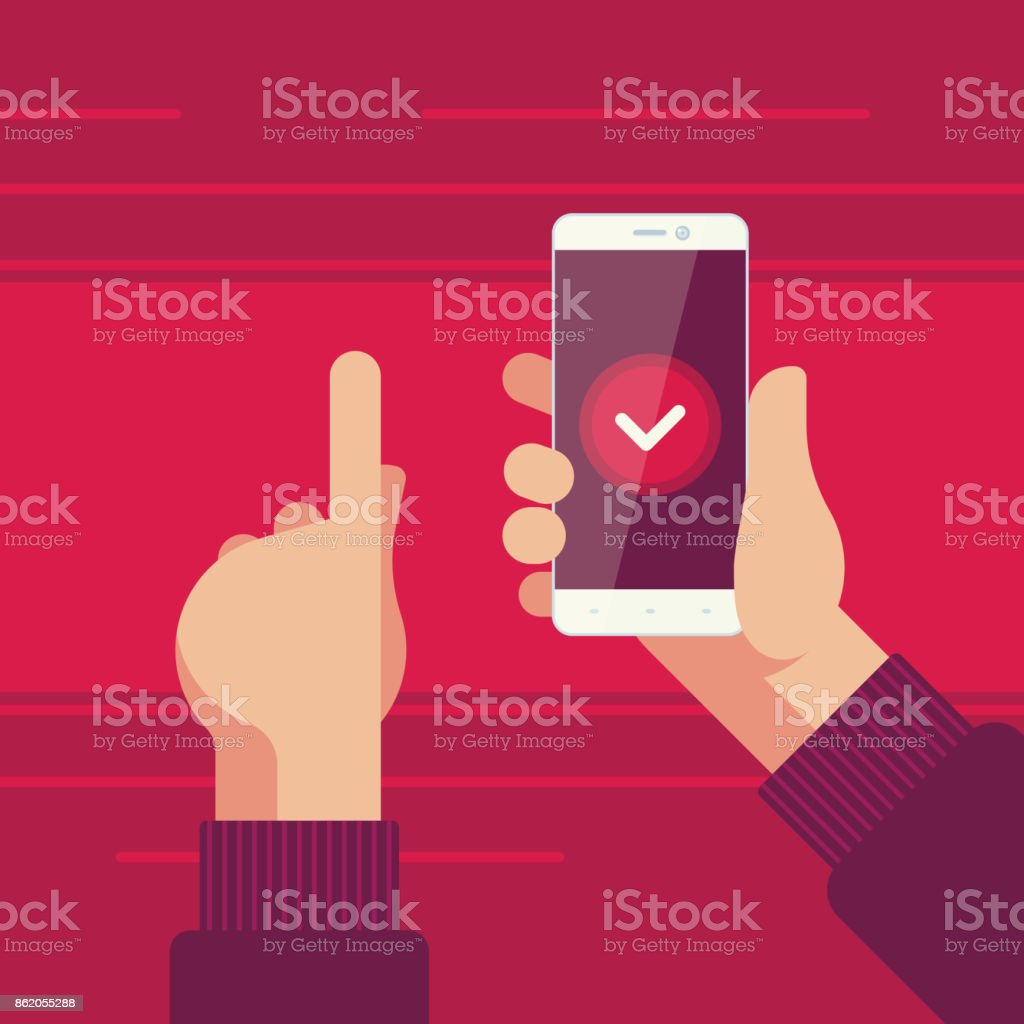 Smartphone in right hand and left hand pointing to confirmation button on the screen vector art illustration