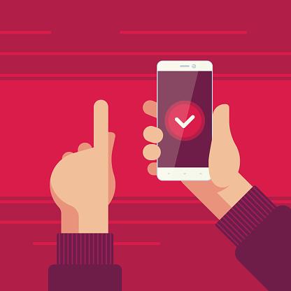 Smartphone I Höger Hand Och Vänster Hand Pekar På Bekräftelseknappen På Skärmen-vektorgrafik och fler bilder på Använda telefon