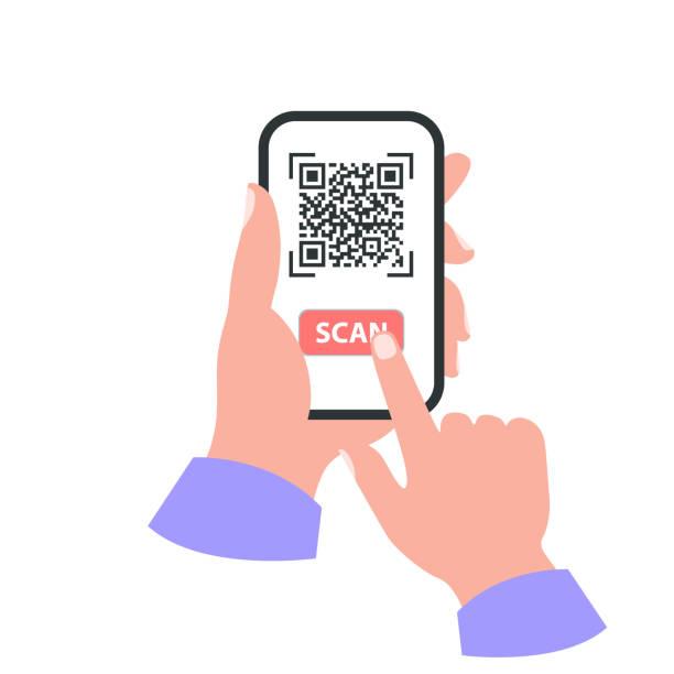 Smartphone in your hand concept. Scan qr code vector art illustration