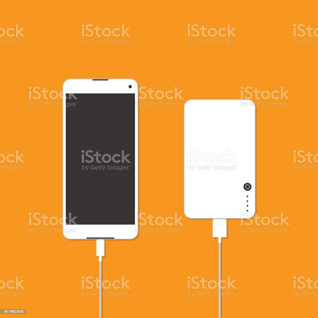 Smartphone is charging with power bank vector art illustration