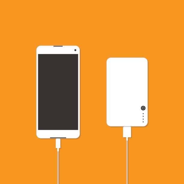 Smartphone is charging with power bank Smartphone is charging with power bank. Vector illustration cell phone charger stock illustrations