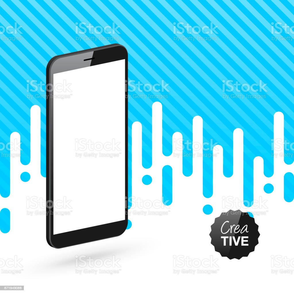 Smartphone isolated on abstract blue background - Isometric Mobile Phone Template vector art illustration