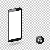 Realistic mobile phone, smartphone with blank screen isolated on an blank background, for your own design.