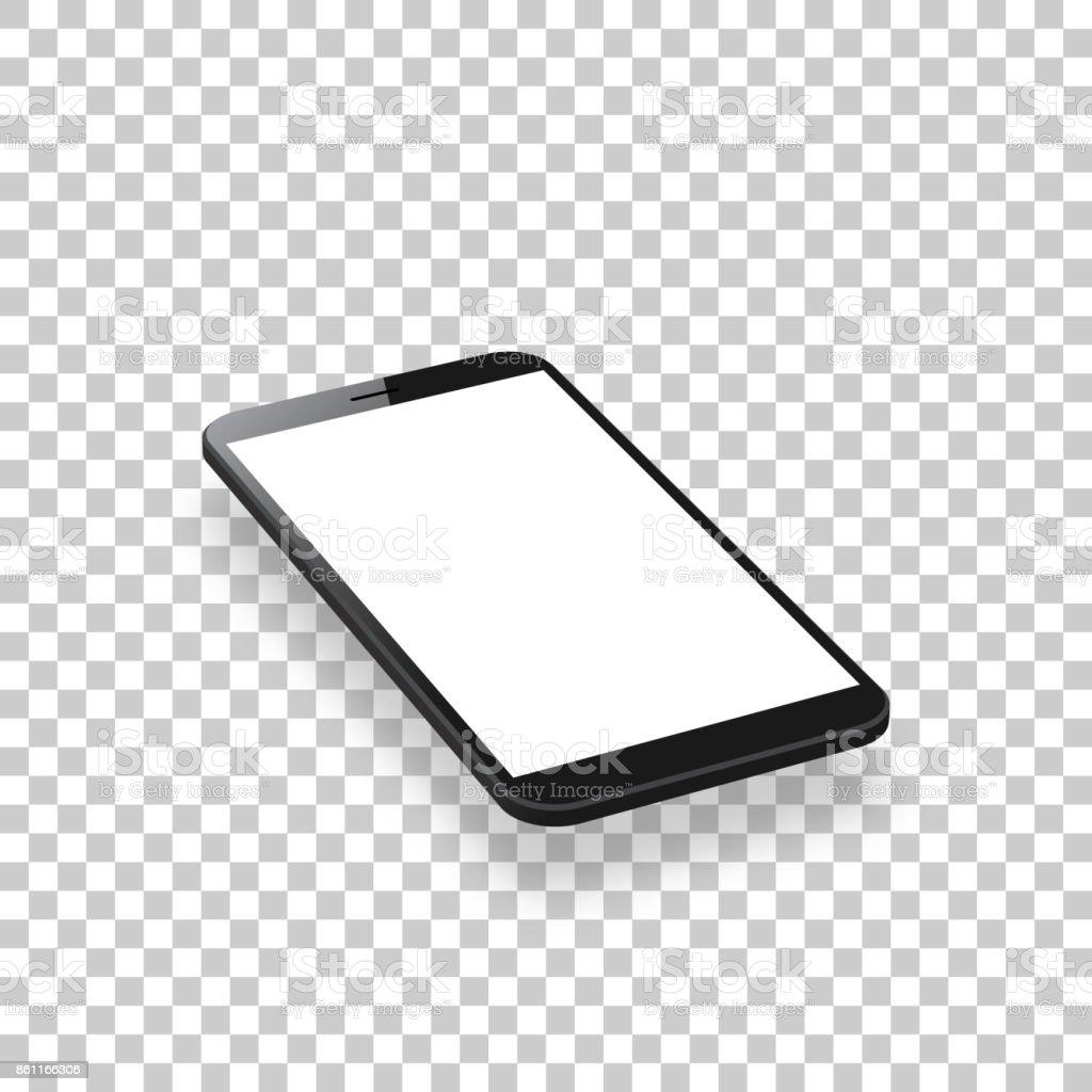 smartphone isolated on blank background isometric mobile phone