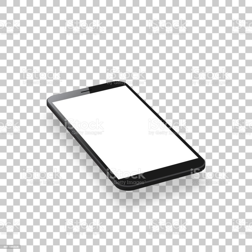 Smartphone isolated on blank background - Isometric Mobile Phone Template vector art illustration