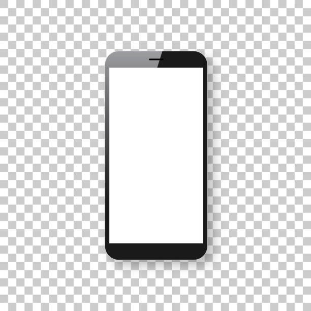 Smartphone isolated on blank background - Mobile Phone Template Realistic mobile phone, smartphone with blank screen isolated on an blank background, for your own design. Mobile phone template for your design. With space for your text and your background. The layers are named to facilitate your customization. Vector Illustration (EPS10, well layered and grouped). Easy to edit, manipulate, resize or colorize. Please do not hesitate to contact me if you have any questions, or need to customise the illustration. http://www.istockphoto.com/portfolio/bgblue blank screen stock illustrations