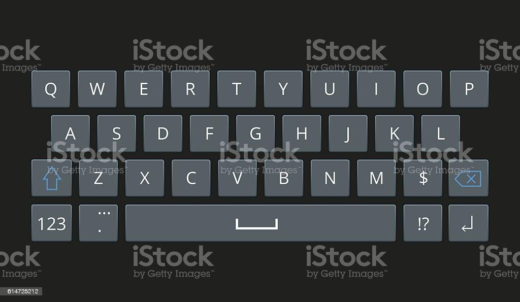 Smartphone keyboard, mobile phone keypad vector mockup. vector art illustration