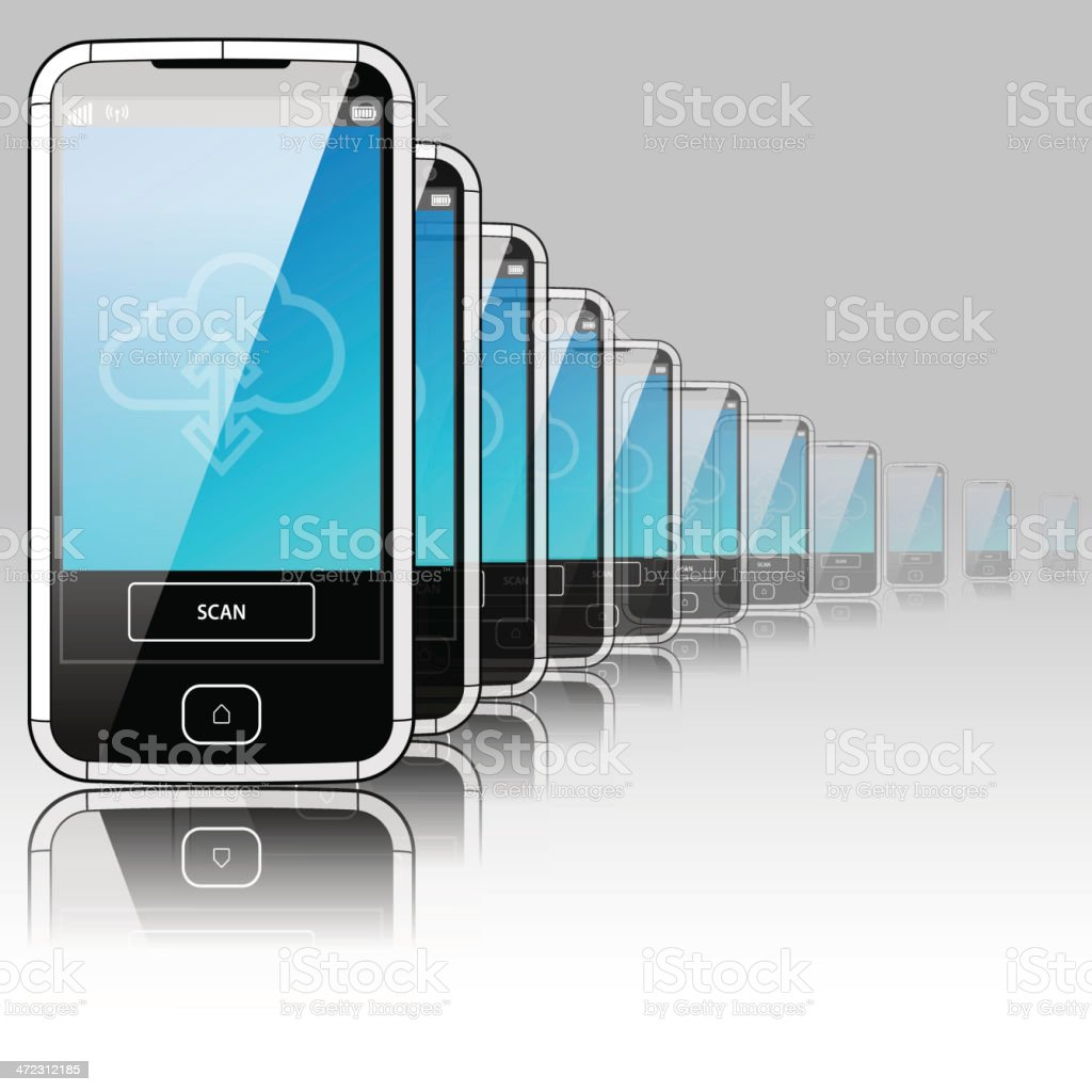 SmartPhone Landscape - Left side view royalty-free stock vector art