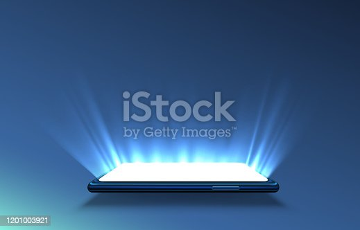 istock Smartphone light screen, technology mobile display light. 1201003921