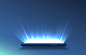 istock Smartphone light screen, technology mobile display light. 1201003921