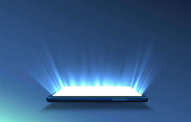 smartphone-lichtbildschirm, technologie mobile display-licht. - hologramm stock-grafiken, -clipart, -cartoons und -symbole