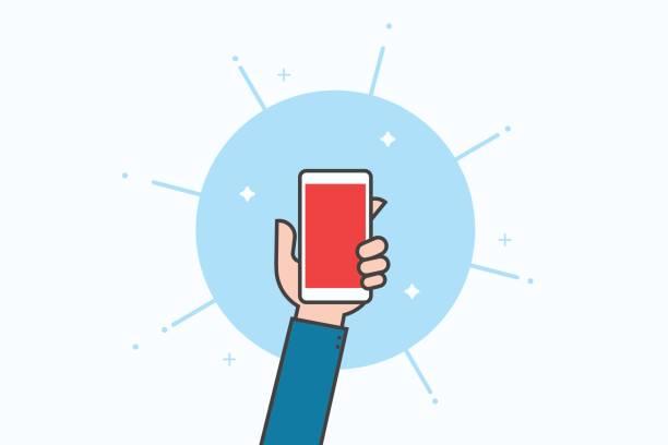 smartphone-linie-icon-design. - fotohandy stock-grafiken, -clipart, -cartoons und -symbole