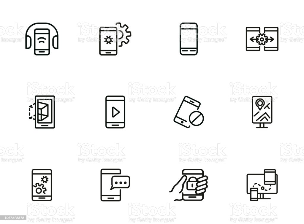 Smartphone line icon set
