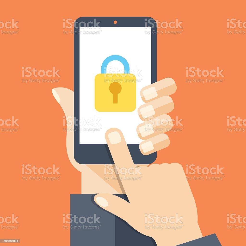 Smartphone lock screen vector art illustration