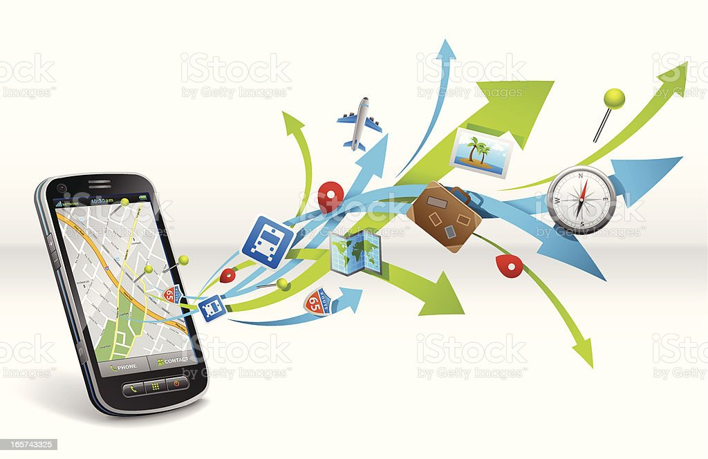 Smartphone maps navigation royalty-free stock vector art