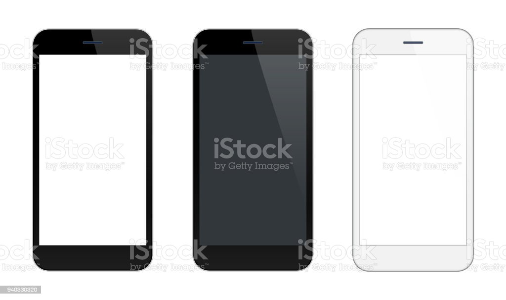 Smartphone Mobile Phone Black and Silver Colors vector art illustration