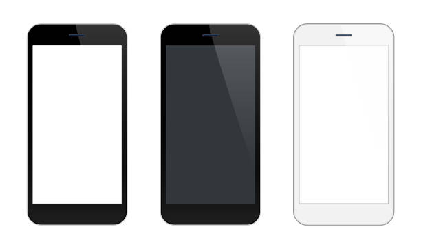 Smartphone Mobile Phone Black and Silver Colors Vector Smartphone Mobile Phone Black and Silver Colors iphone stock illustrations