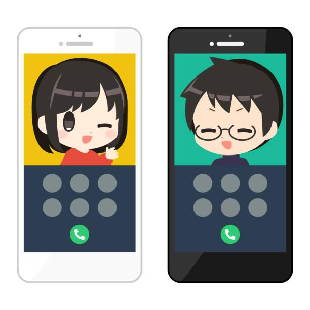 スマートフォン携帯電話の通話画面イラストセット ベクターアートイラスト