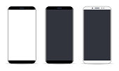 Vector Smartphone, Mobile Phone In Black and Silver Colors, Realistic Vector Illustration
