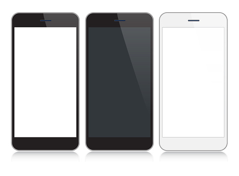 Smartphone, Mobile Phone In Black and Silver Colors With Reflection, Realistic Vector Illustration