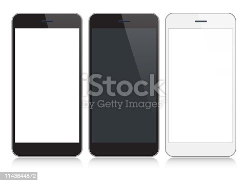 Vector Smartphone, Mobile Phone In Black and Silver Colors With Reflection, Realistic Vector Illustration