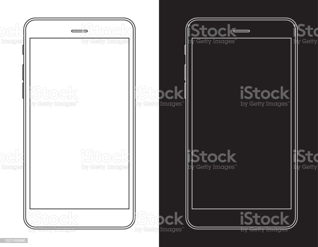 스마트폰, 휴대 전화 흑인과 백인 와이어 프레임 - 로열티 프리 LCD 벡터 아트