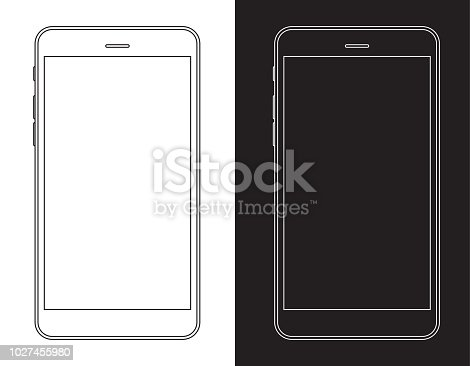 Vector Smartphone, Mobile Phone in Black and White Wireframe