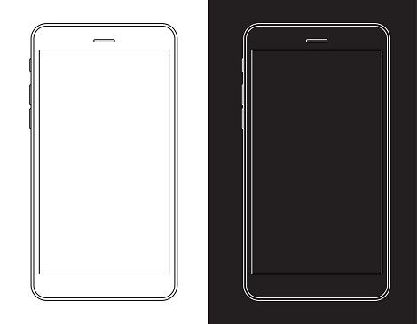 黒と白のワイヤ フレームで携帯電話スマート フォン - アイコンのベクターアート素材や画像を多数ご用意