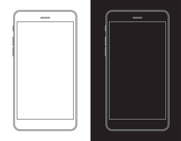 smartphone, mobile phone in black and white wireframe - smartphone stock illustrations