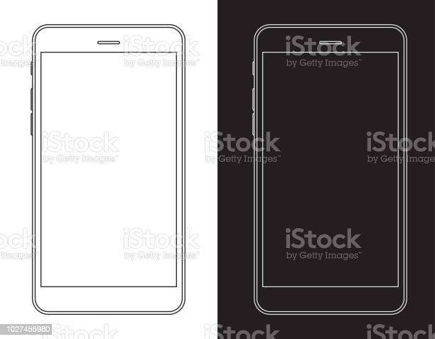 스마트폰 휴대 전화 흑인과 백인 와이어 프레임 LCD에 대한 스톡 벡터 아트 및 기타 이미지