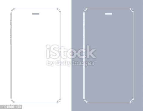 istock Smartphone, Mobile Phone In Gray And White Color Wireframe 1215651475