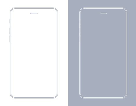 Smartphone, Mobile Phone In Gray And White Color Wireframe