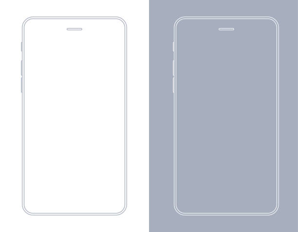smartphone, mobile phone in gray and white color wireframe - smartphone stock illustrations