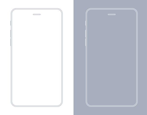 스마트폰, 회색과 흰색 색상 와이어 프레임에서 휴대 전화 - smartphone stock illustrations