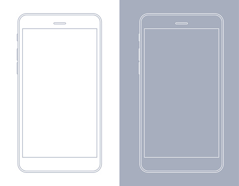 Smartphone, Mobile Phone in Gray and White Wireframe