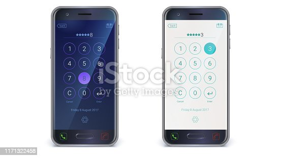 Smartphone, mobile phone isolated on white background. App with digital numpad, user mobile interface kit. Screen lock with interface for passcode. Day and night variants. Vector 3d illustration