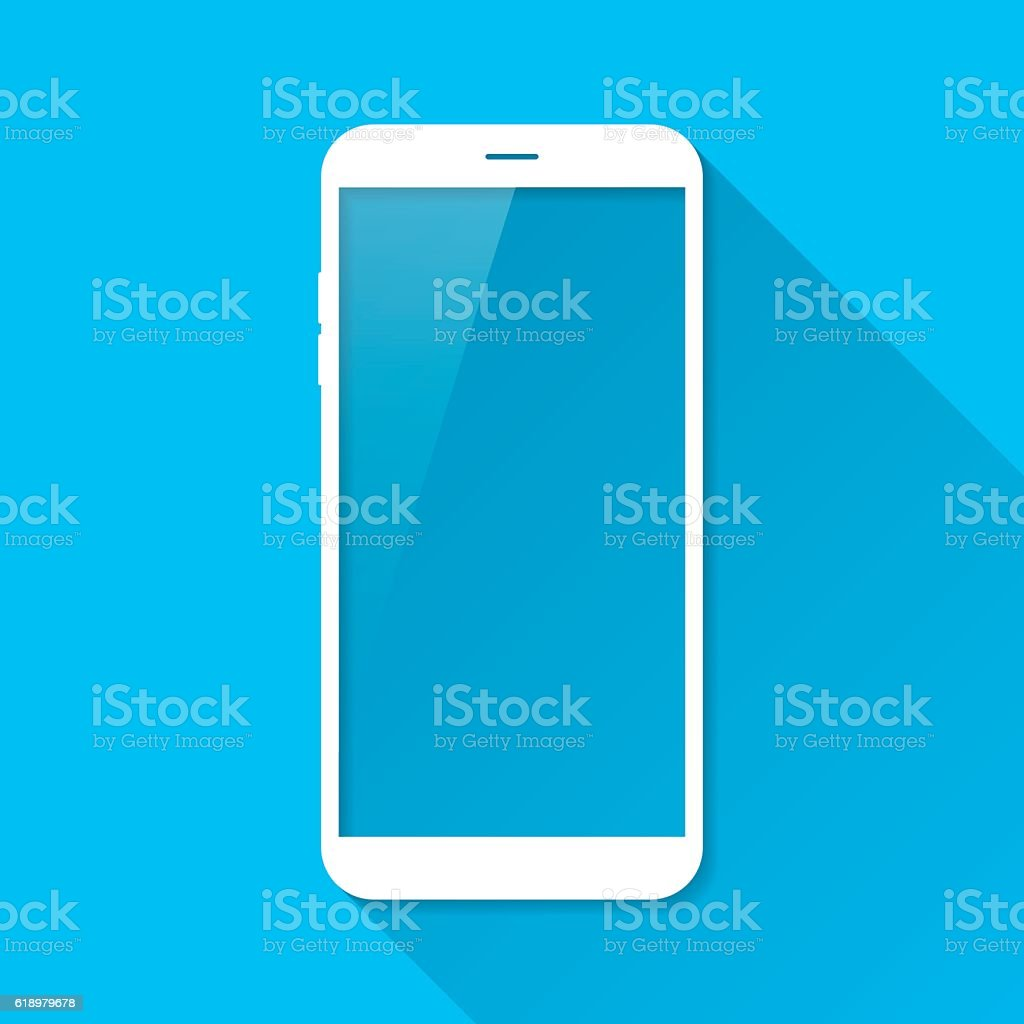 Smartphone, Mobile Phone on Blue Background, Long Shadow, Flat Design vector art illustration
