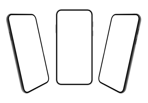 Smartphone. Mobile phone Template. Telephone. Realistic vector illustration of Digital devices. 3D